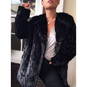 Yelena Mink Faux Fur Coat - Black